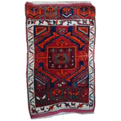Handmade Antique Collectible Turkish Yastik Rug, 1890s