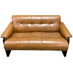 Brazilian Rosewood and Camel Leather Loveseat by Percival Lafer