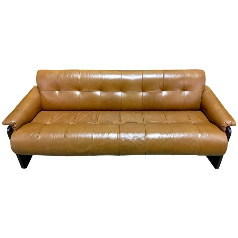 Brazilian Rosewood and Saddle Leather Long Sofa by Percival Lafer, #11874 For Sale