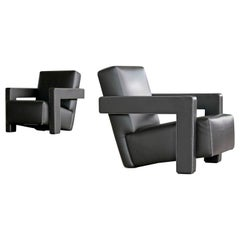Gerrit Rietveld Pair of Utrecht Lounge Chairs in Dark Mocha Leather by Cassina