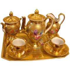 Six-Piece French Empire Parcel Gilt Porcelain Demi-Tasse Set by Nast, Paris