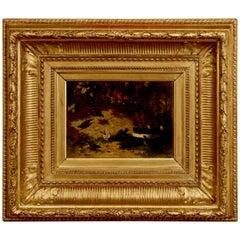 Framed Oil on Board of Birds by Jean Baptiste Robie, Belgian