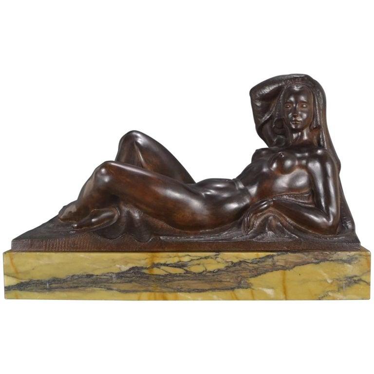 Art Deco Masterpiece Bronze Reclining Sculpture Important Artist Jan Anteunis For Sale