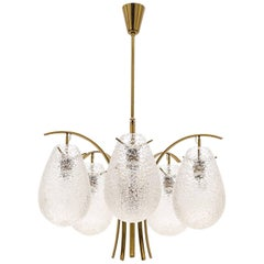 Rare Angelo Lelli Brass Chandelier with Textured Glass, Arredoluce, 1959