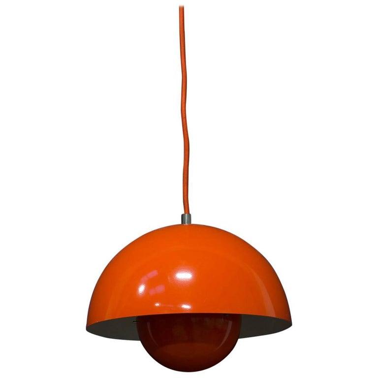 1969, Verner Panton for Louis Poulsen, Denmark, Orange Flowerpot Pendant Light