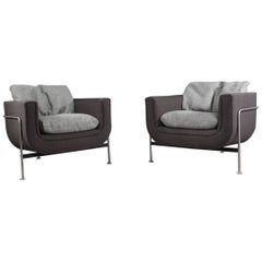 Pair of Lounge Chairs Designed by Jaques Brule for Hans Kaufeld