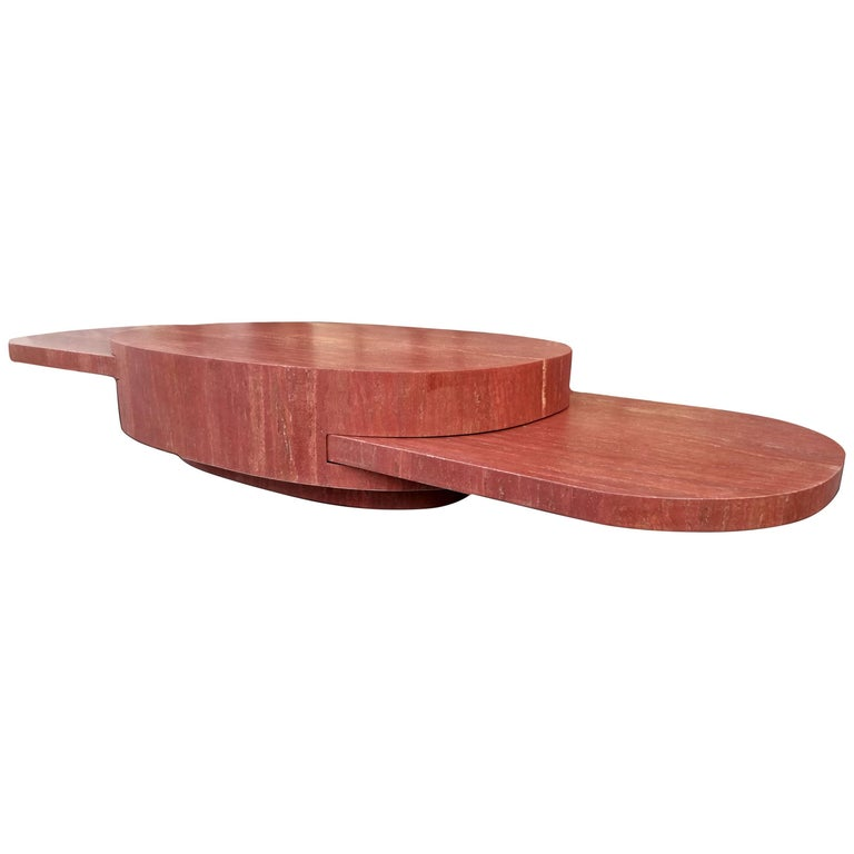 "Gabriella Crespi ""Ellisse"" Coffee Table in Travertino Red Persian Marble 1"