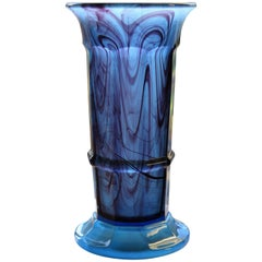 George Davidson Cloud Glass Blue Column Vase Art Deco Period, Circa 1930s