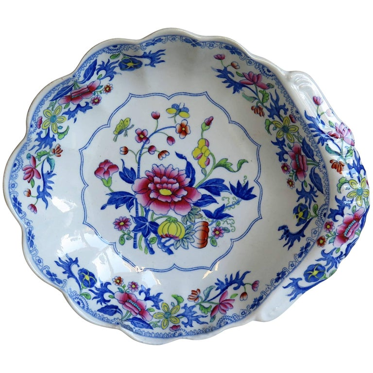 Georgian Spode Ironstone Shell Dish or Plate Bang Up Pattern No. 2886, Ca 1820 For Sale