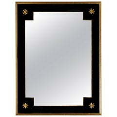 Pierre Lardin Smoked Glass Giltwood Deco Mirror Black and Gold, 1940s, France