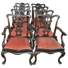 Set of Eight 19th Century Mahogany English Chippendale Chairs