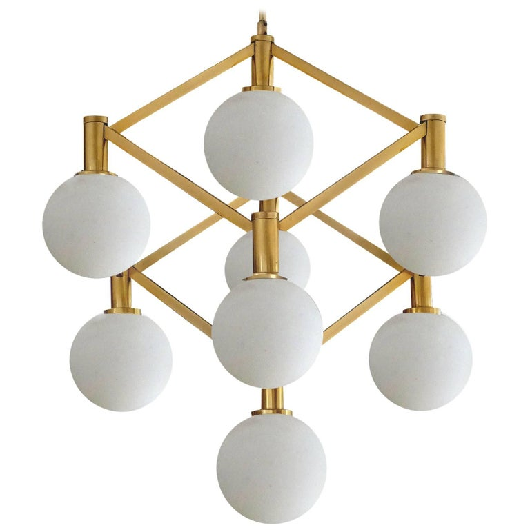 Large Italian MidCentury Brass Glass Chandelier Pendants, Stilnovo Gio Ponti Era For Sale