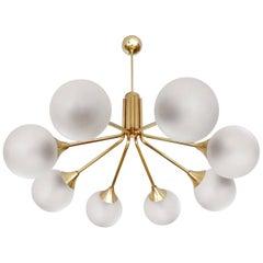 Large  Stilnovo Style Kaiser Brass Glass Chandelier, 1960s Pendant  Lamp