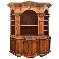 Custom Italian Tuscan Style Walnut Bookcase Cabinet