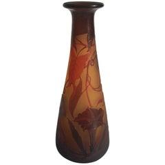 Art Nouveau D'Argental Crystal Convolvulus Cameo Vase by Paul Nicolas