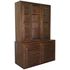 Solid Mahogany Welsh Dresser Bookcase Cabinet Stripped and Waxed Part of Suite