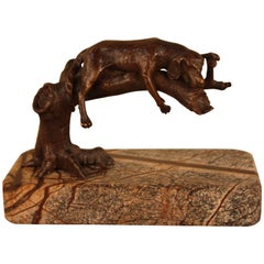 Bronze Dog Sleeping on a Tree Branch Sculpture