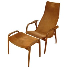 Lamino Lounge Chair with Footstool Designed by Yngve Ekström for Swedese