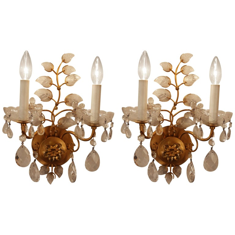 Pair of Crystal Wall Sconces Attributed to Maison Bagues