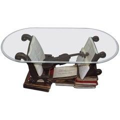 Rare Johann Sebastian Bach Music Coffee Table with Strung Violin on Books