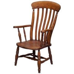 Rare English Elm Victorian, circa 1890 Windsor Stick Lath Back Chair Armchair