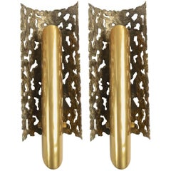 1970s Brutalist Bonze and Brass Pair of Sconces