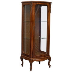 Kingwood Veneer French Glass Shelved Display Cabinet Crushed Velvet Upholstery