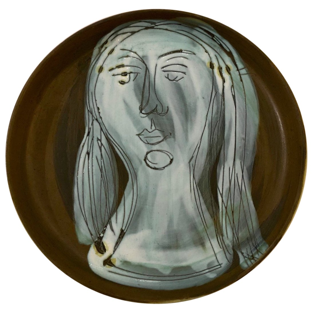 Ceramic Dish with Woman's Face Signed by Jacques Innocenti, 1950s