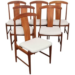 Set of Six Danish Tall Back Teak Midcentury Dining Chairs