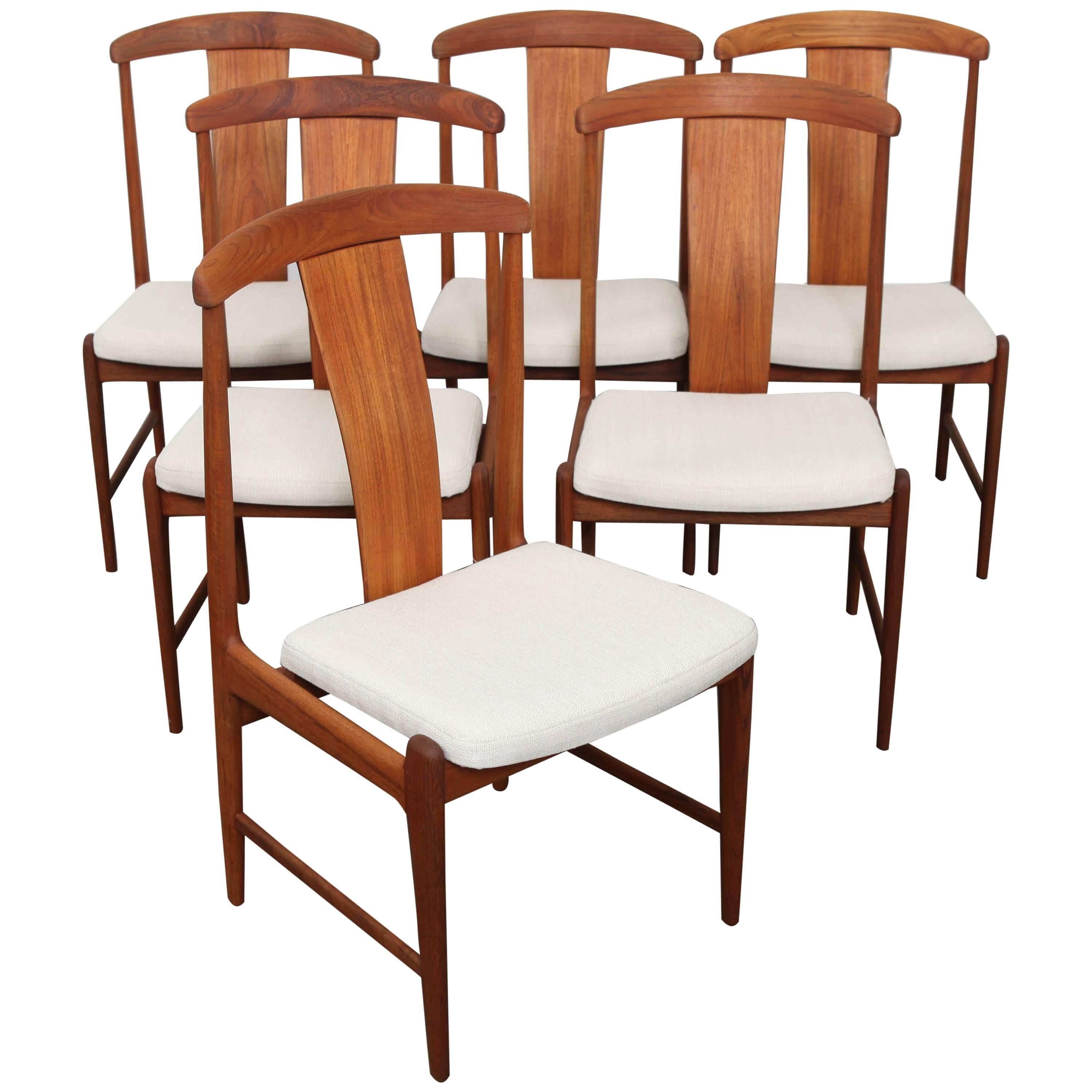 Set Of Six Danish Tall Back Teak Midcentury Dining Chairs For Sale