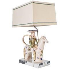 Italian Midcentury Ceramic Horse with Rider Now Custom Mounted as a Lamp