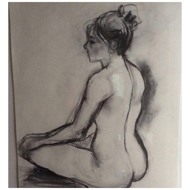 'Meditation' Charcoal on Paper Nude Fiona MacPherson
