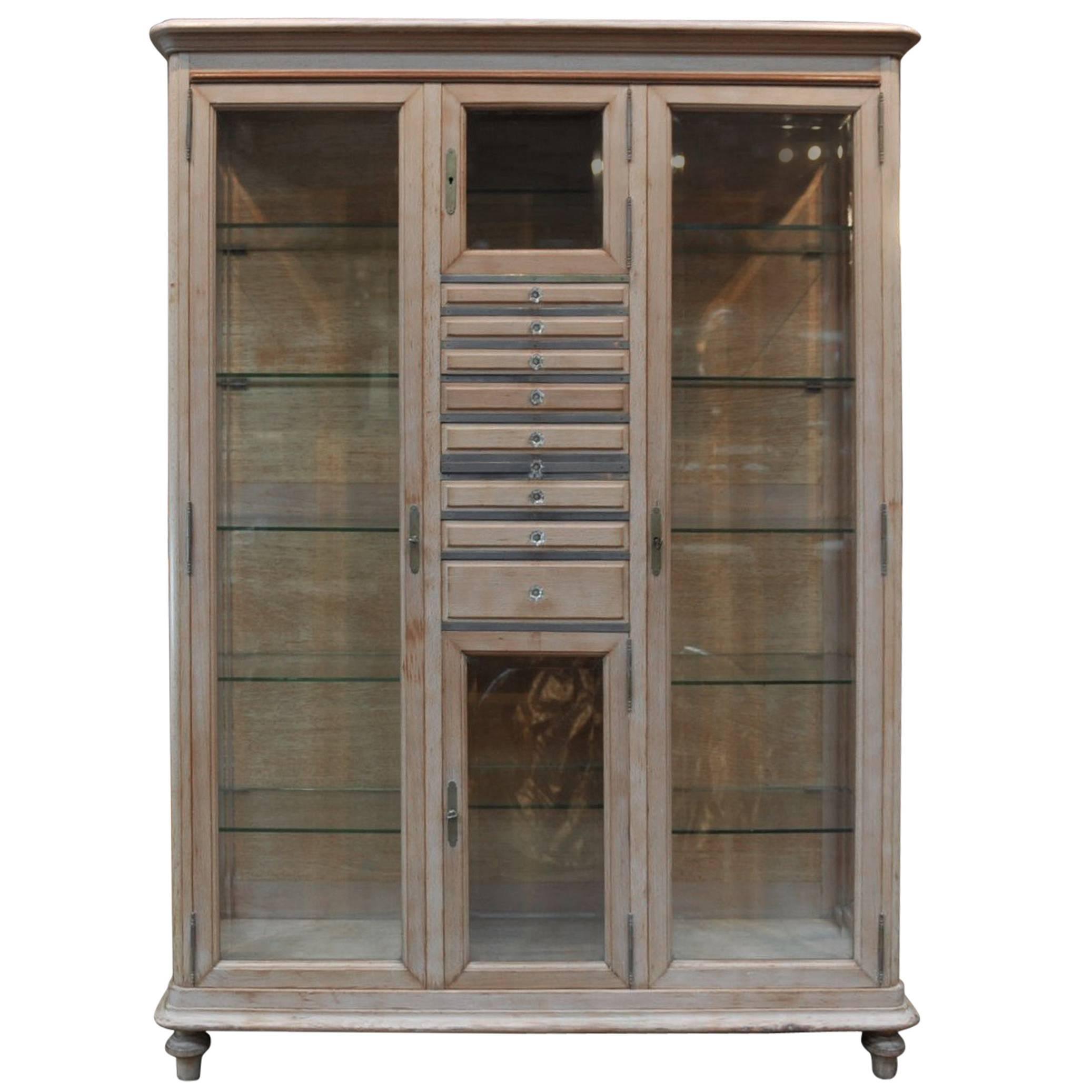 Beveled Glass Dentiste Vitrine Bookcase Cabinet Beech Wood, 1920s