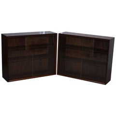 Pair of Herbert E Gibbs Furniture 1960s Mahogany Sliding Galls Doors Bookcases