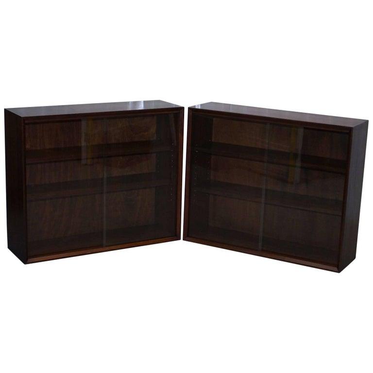 Pair of Herbert E Gibbs Furniture 1960s Mahogany Sliding Galls Doors Bookcases