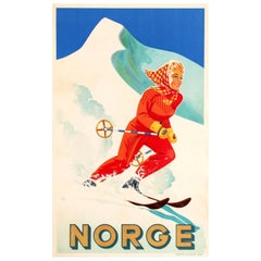 Original Vintage Winter Sports Travel Poster Promoting Skiing In Norway - Norge