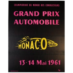 Large Original Vintage Car Racing Sport Event Poster - Monaco Grand Prix 1961
