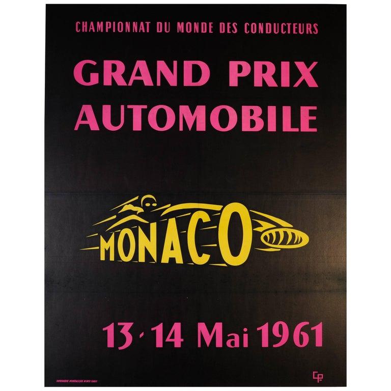 Large Original Vintage Car Racing Sport Event Poster - Monaco Grand Prix 1961 For Sale