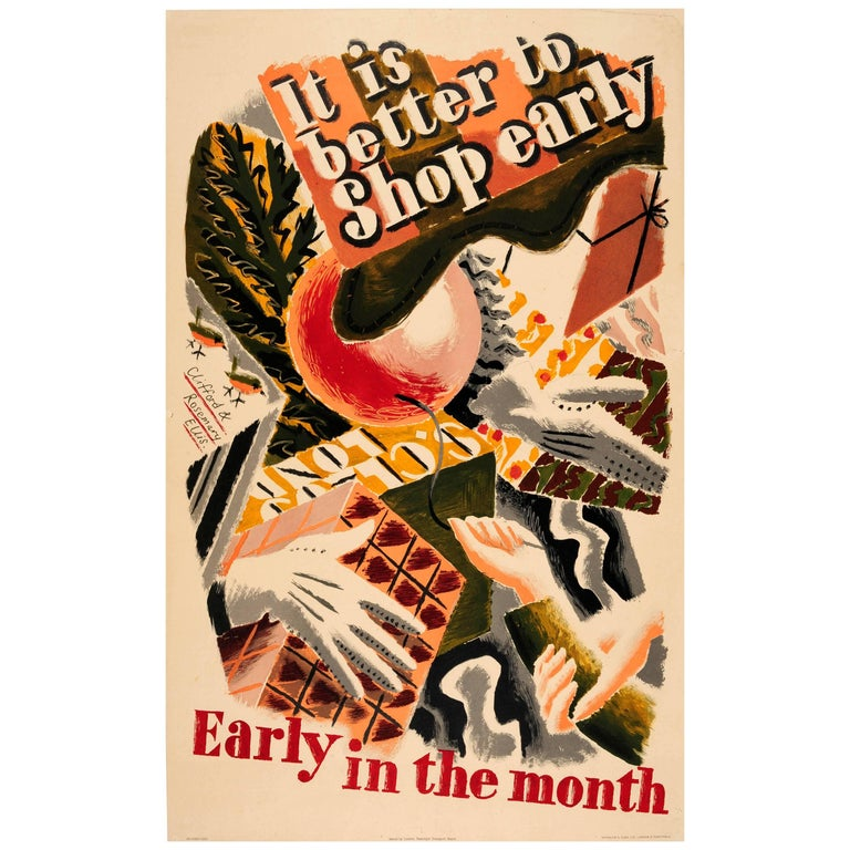 Original Vintage London Transport Poster It Is Better To Shop Early In The Month For Sale