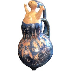 "Whimsical Handmade Hand-Painted ""Happy Ewer""  Sculpture, 1970, Eva Fritz-Lindner"