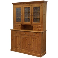 Lovely Farmhouse Country Solid 100% Pine Welsh Dresser with Lead Lined Windows