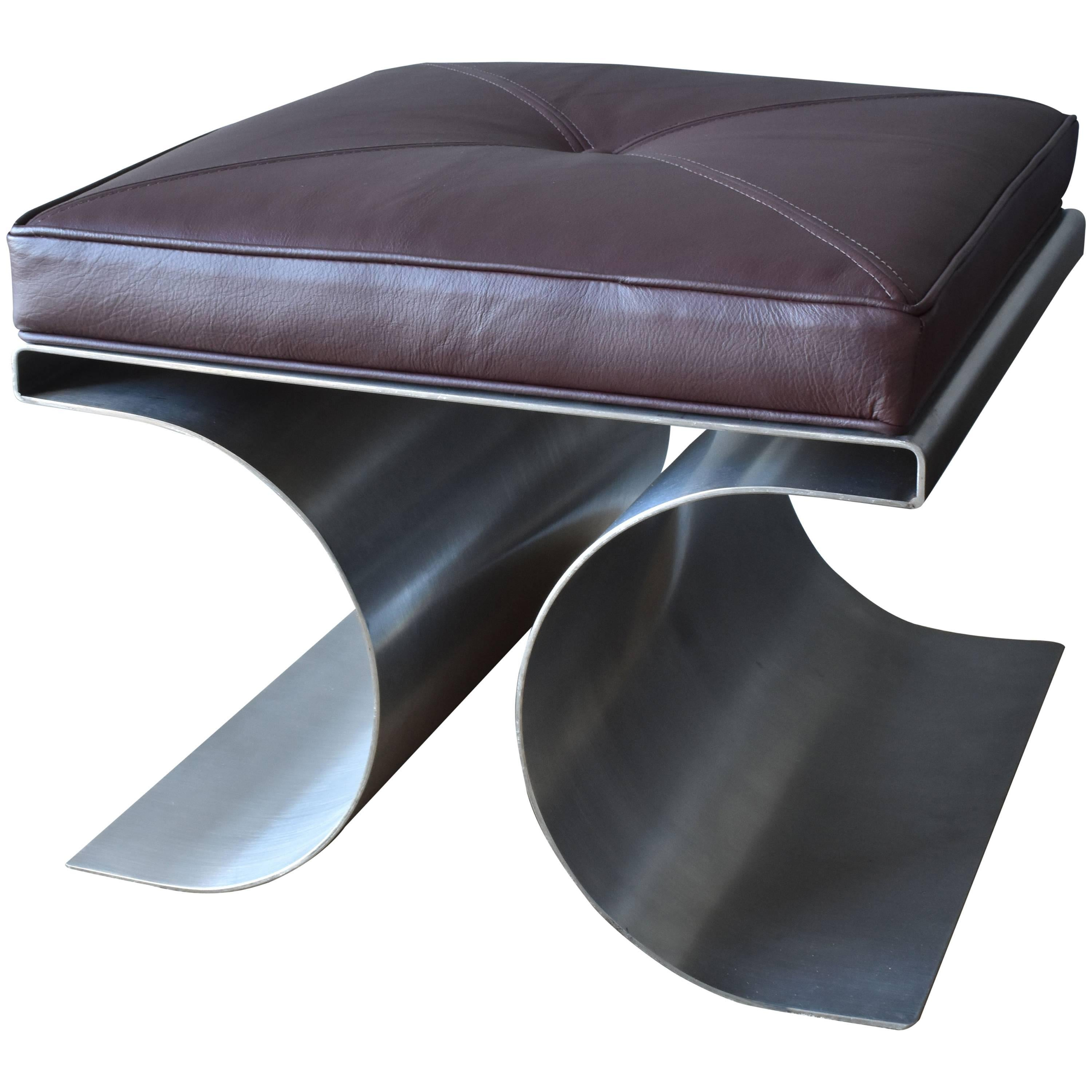Superior Michel Boyer, U0026quot;Xu0026quot; Stool, Stainless Steel And Brown Leather  Cushion,