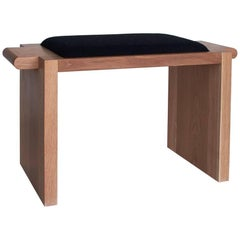 Plank Bench / Stool, Upholstered Solid Wood Bench
