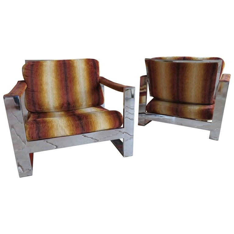 Rare Pair of Super Wide Chrome Bar Milo Baughman Thayer Coggin, Lounge Chairs
