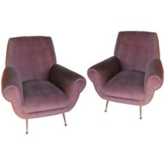 Two Armchairs, Gigi Radice for Minotti, Fully Restored, Soft Cotton Velvet 1950s