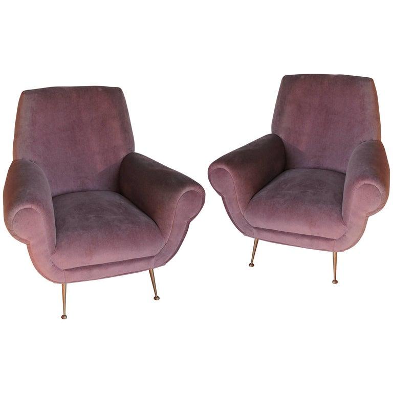 Two Armchairs, Gigi Radice for Minotti, Fully Restored, Soft Cotton Velvet 1950s