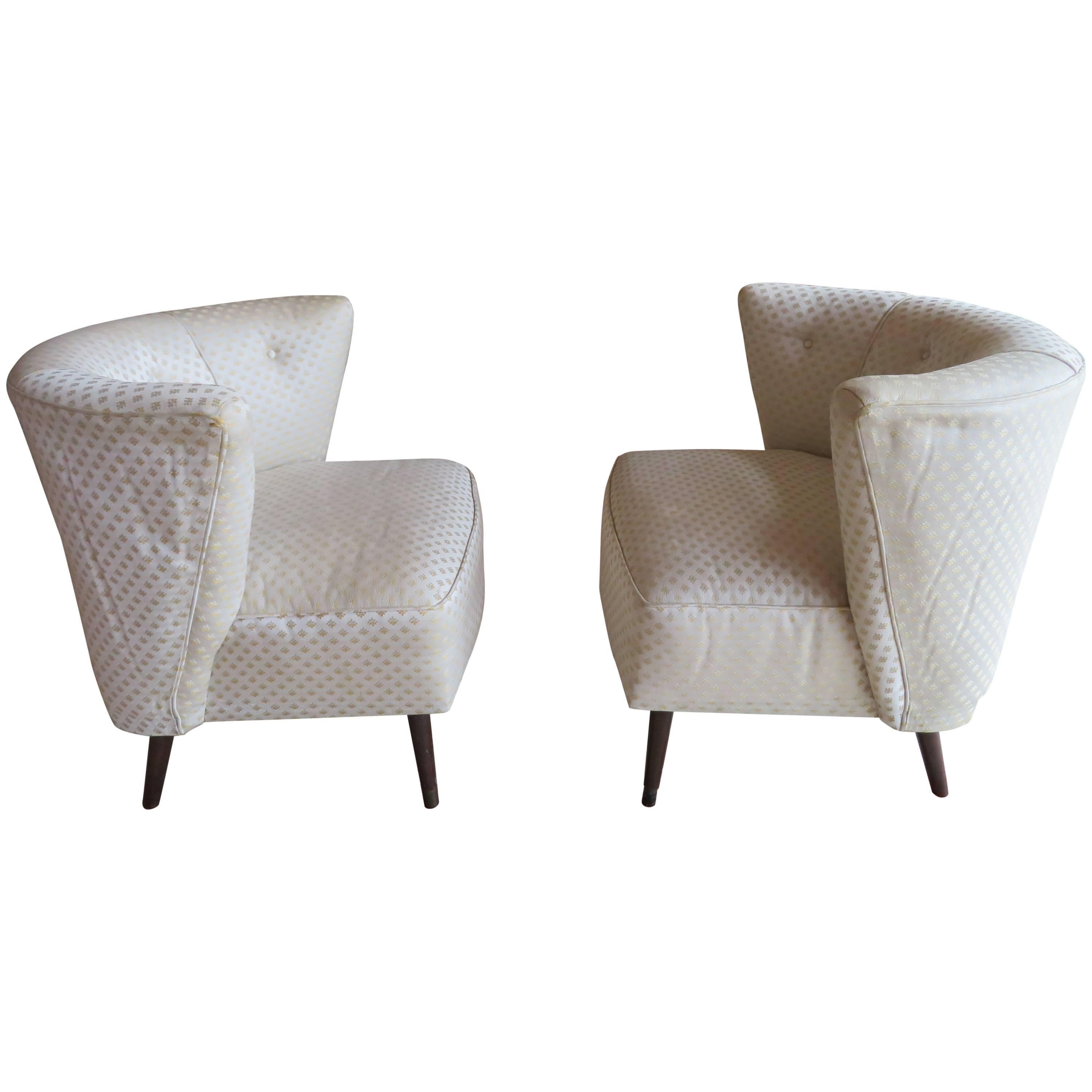 Sculptural Billy Haines Style Barrel Back Lounge Chairs Mid-Century Modern, Pair