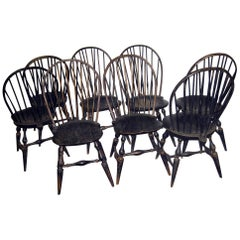 19th Century Set of Eight American Windsor Chairs with Original Paint