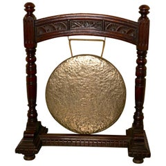 Large Gothic Carved Oak and Brass Dinner Gong