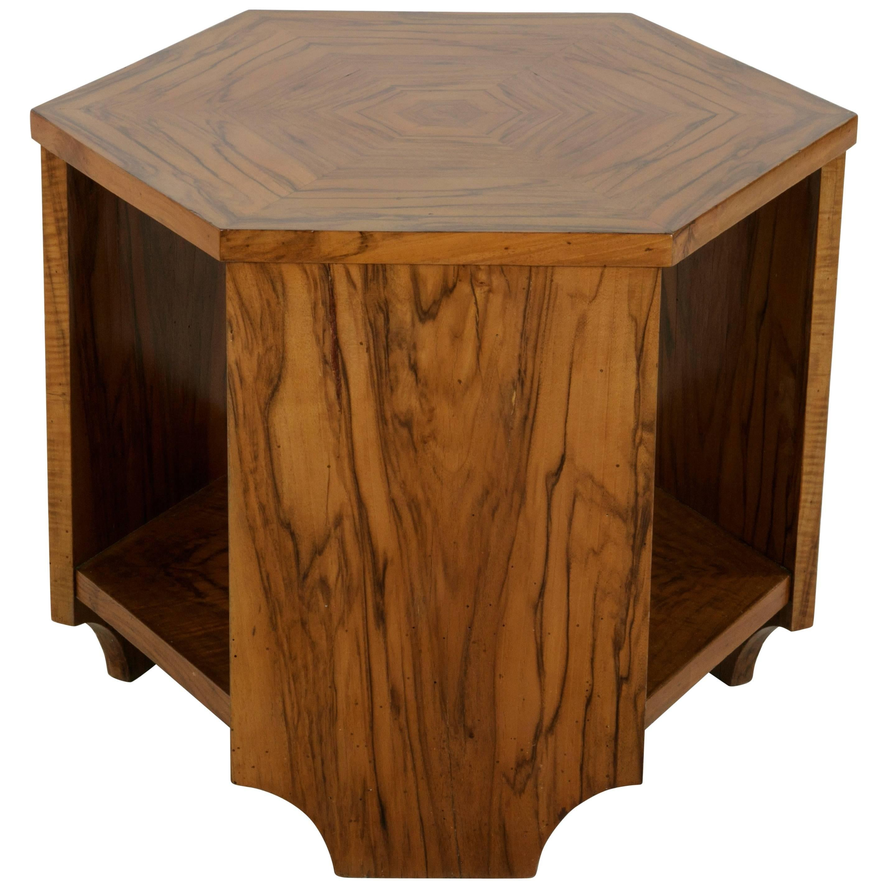 Early 20th Century French Art Deco Period Bookmatched Walnut Hexagon Side  Table